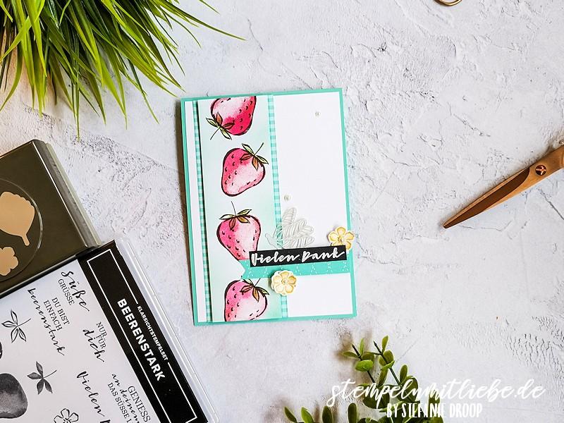 Dankeskarte mit Beerenstark - Stempeln mit Liebe - Stampin' Up! - Jade - Produktpaket Beerenstark - Elementstanze Erdbeere