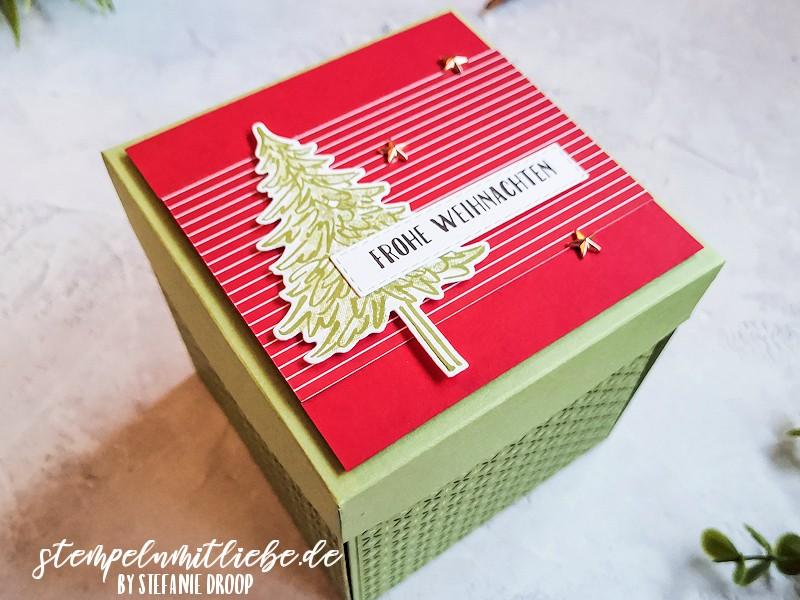 Explosionsbox zu Weihnachten - Don't stop believin' - Stampin' Up! - In the Pines - Weihnachtsgeschenk