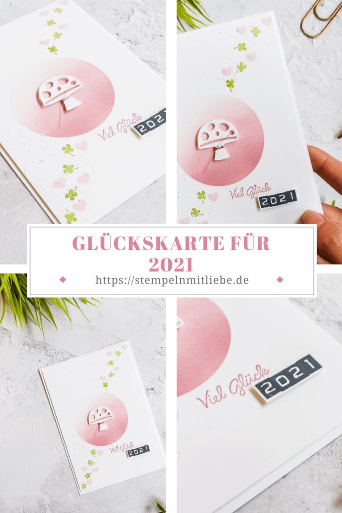 Stanzformen Schnecke - Rokokorosa - Grüner Apfel - Kirschblüte - Stempelset Ovale Grüsse - Glückskarte für 2021 - Stampin' Up!