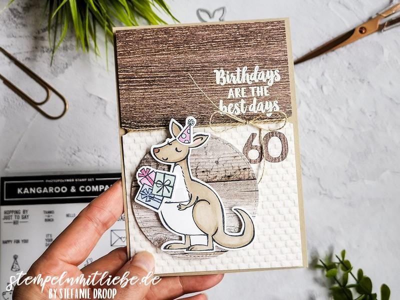 Kangaroo Birthday - Produktpaket Kangaroo & Company - Designerpapier Ganz mein Geschmack - Savanne - Crumb Cake - Stanzformen Stickmuster - Stempelset Beautiful Friendship - Geburtstagskarte