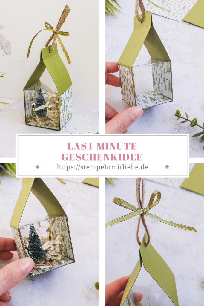 Last Minute Geschenkidee - Olivgrün - Designerpapier Trimming the town - Designerpapier Adventsstädtchen - Transparente Geschenkschachtel - Verpackung - Weihnachtsverpackung