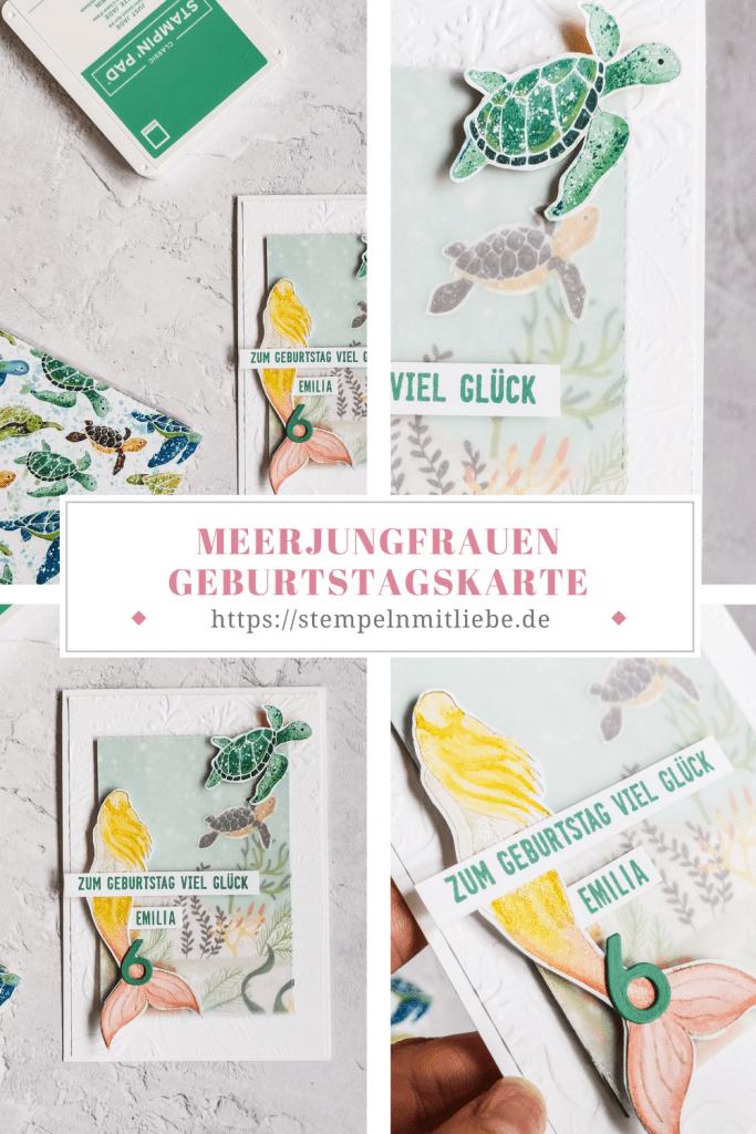 Meerjungfrauen Geburtstagskarte - Magical Mermaid - Designerpapier Meereswelt - Stampin' Up!