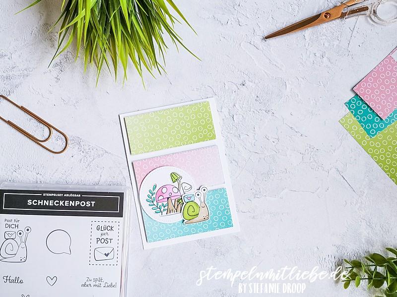 Schneckenpost für dich - Stampin' Up - Stempeln mit Liebe - Bermudablau - Rokokorosa - Grüner Apfel