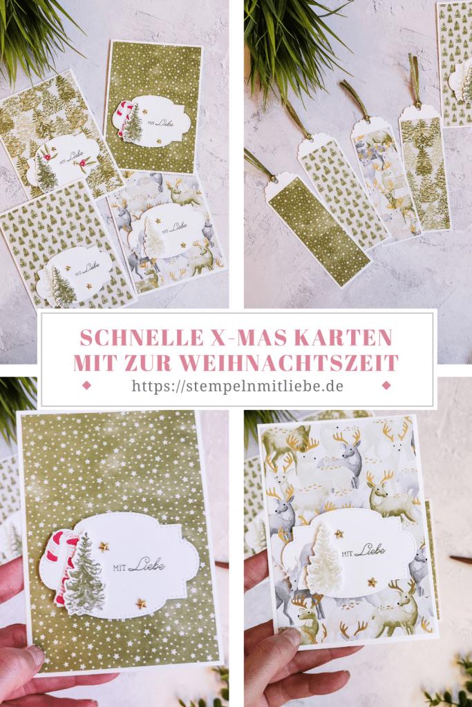 Schnelle Weihnachtskarten mit dem Produkt-Medley Zur Weihnachtszeit - Stampin' Up - Stempeln mit Liebe