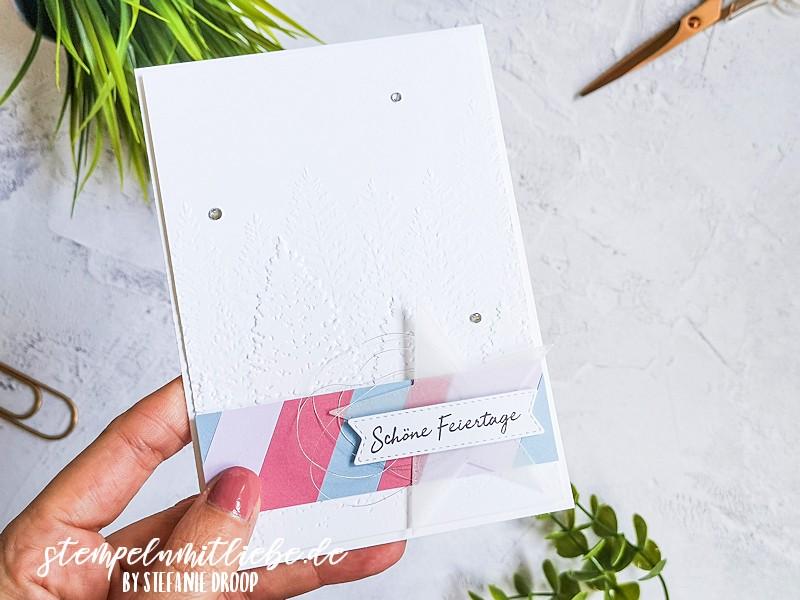 Schöne Feiertage in In Color Farben - 3D Prägeform Nadelwald - Rokokorosa - Rauchblau - Flieder - Stanzformen Bestickte Sterne - Weihnachtskarte