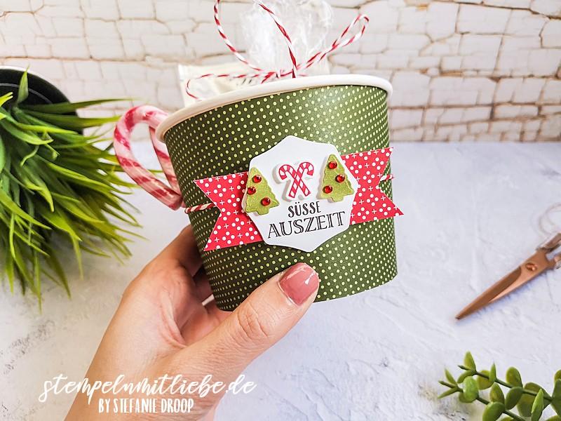 Süße Auszeit für dich - Stempeln mit Liebe - Stampin' Up! - Stempelset Herzerwärmend - Warm Hugs - Stanzformen Becher Banderolen - Designerpapier Weihnachten im Herzen