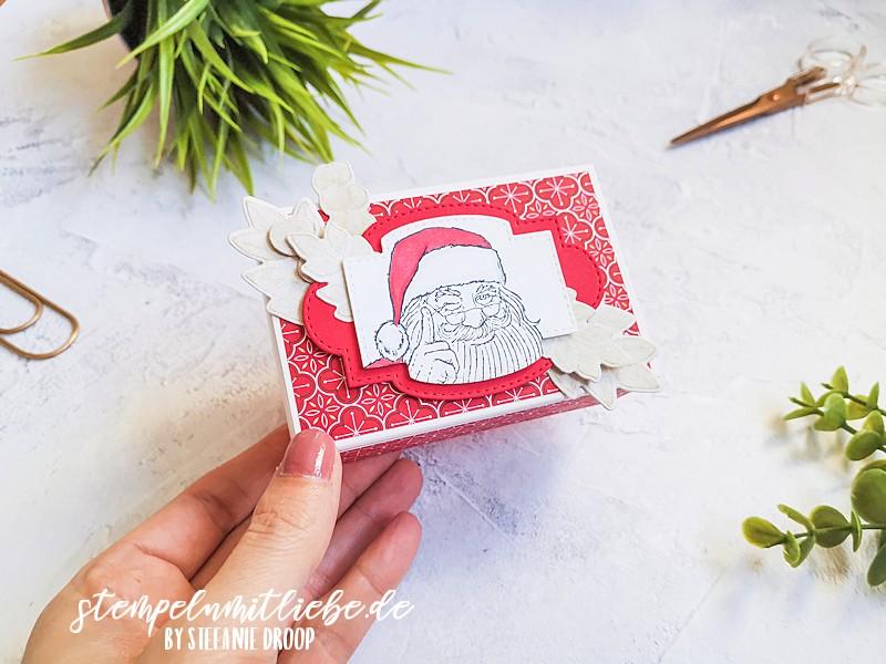Weihnachtliche Leckereienschachtel -Leckereien-Schachtel für Immer im Herzen - Love you always Treat Box - Stempelset Don't stop believin - Stanzformen So hübsch bestickt - Stempelset Für Alle Zeit -