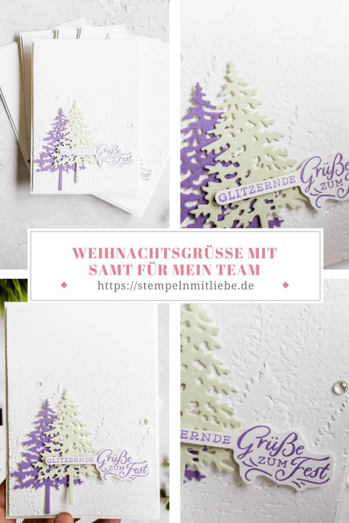 Weihnachtsgrüße mit Samt für mein Team - Stanzformen im Tannenwald - Stampin' Up! - Heideblüte - Lindgrün - Prägeform Nadelwald