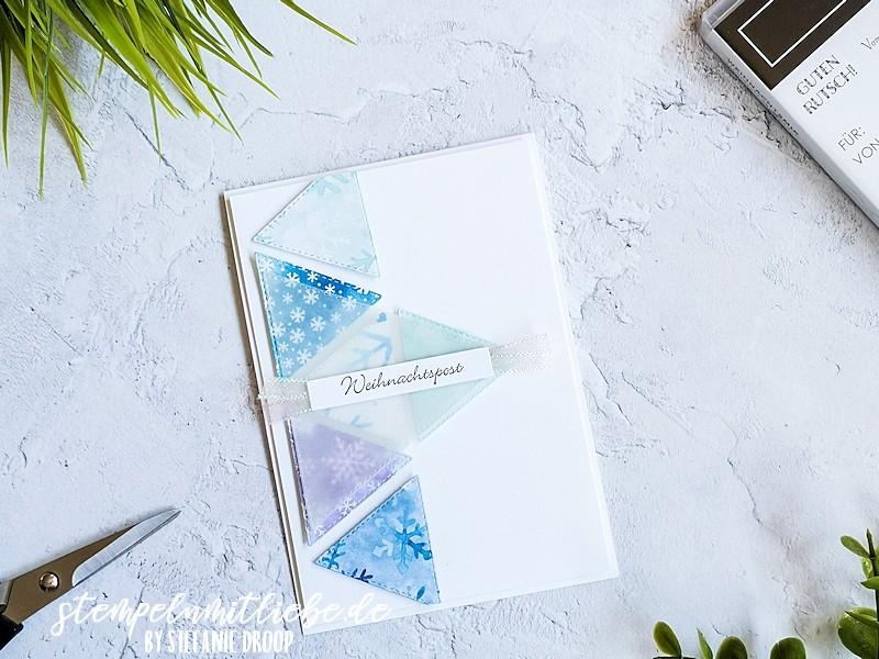 Weihnachtspost mit Schneeflockentraum - Stampin' Up! - Stempeln mit Liebe - Designerpapier Schneeflockentraum - Snowflake Wishes - Stanzformen Bestickte Dreiecke