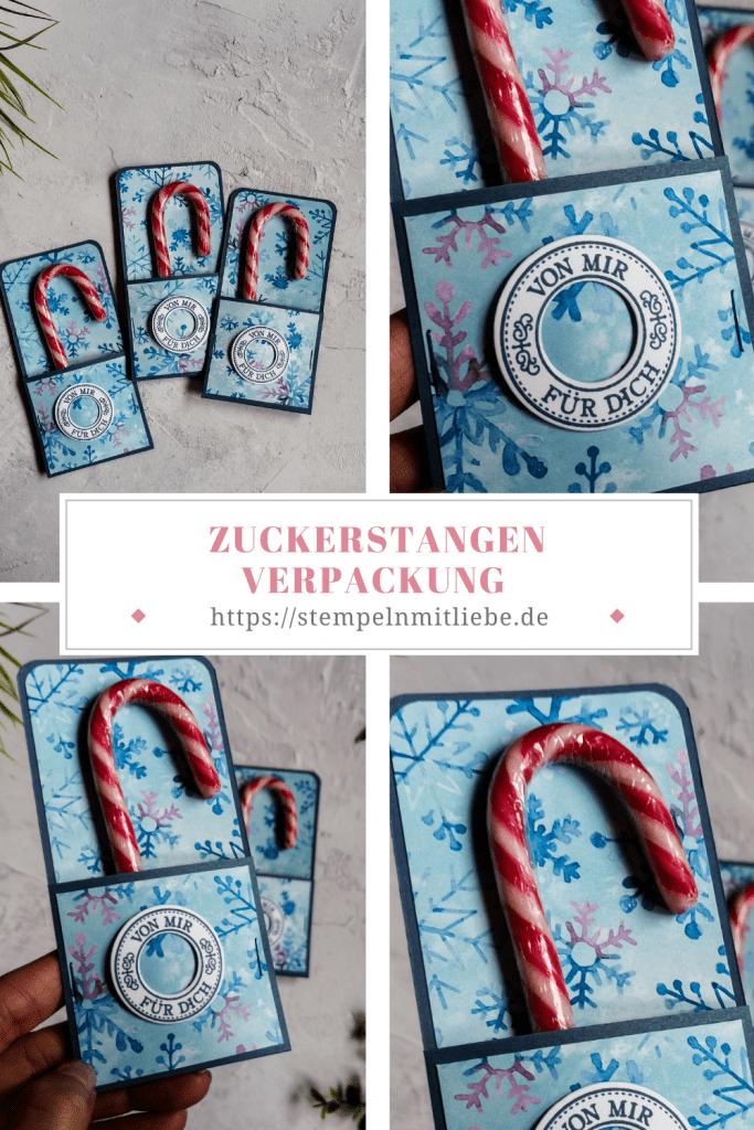 Zuckerstangen neu verpackt - Stampin' Up! - Abendblau - Stempelset Herzerwärmend, Designerpapier Schneeflockentraum - Anleitung - Tutorial