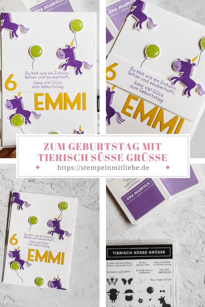 Zum Geburtstag mit Tierisch süsse Grüsse - Stampin' Up! - Stempeln mit Liebe - Amethyst -Heideblüte, Grüner Apfel - Kindergeburtstag - Geburtstagskarte