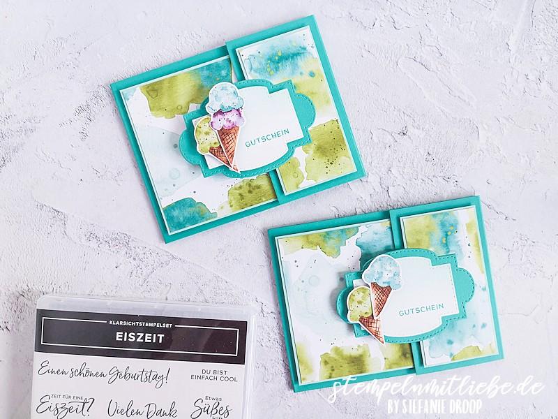 Anleitung Geld- / Gutscheinverpackung - Stempeln mit Liebe - Stampin' Up! - Verpackung - Produktpaket Eiszeit - Designerpapier Eisdiele - Bermudablau - Eisgutschein - Anleitung - Video