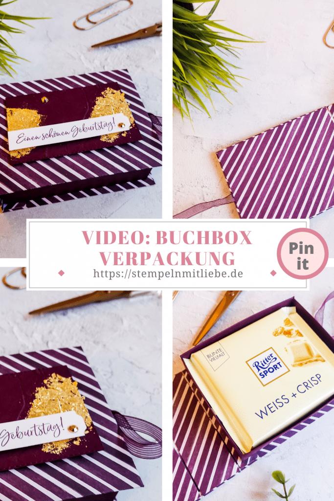 Buchbox Verpackung für Rittersport - Stempeln mit Liebe - Stampin' Up - Brombeermousse - Designerpapier Eisdiele - Stempelset Eiszeit - Deko-Metallblättchen in Gold