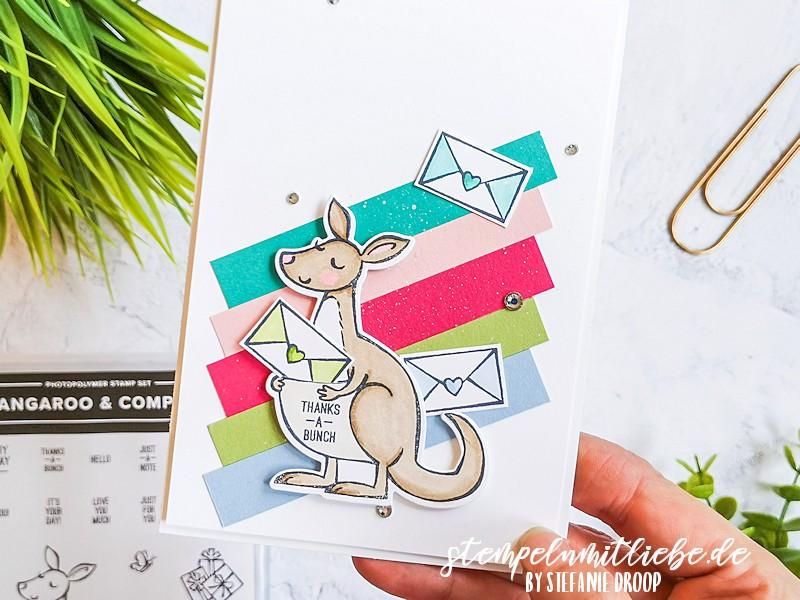Bunte Dankeskarte Känguru - Stempeln mit Liebe - Stampin' Up! - Kangaroo & Company - Stampin' Blends