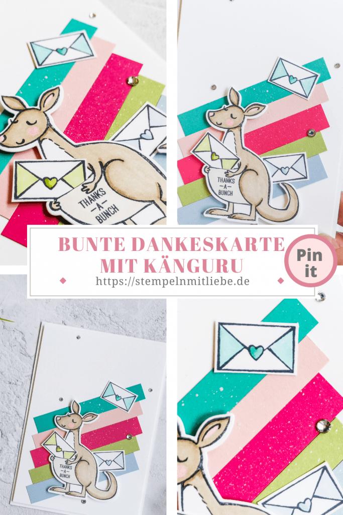 Bunte Dankeskarte mit Känguru - Stempeln mit Liebe - Stampin' Up! - Kangaroo & Company - Stampin' Blends