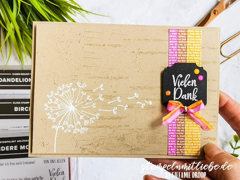 Danke mit Dandelion Wishes - Stempeln mit Liebe - Stampin' Up! - Stempelset Birch - Stempelset Dandelion Wishes - Stempelset Besondere Momente - Stanzformen Zierrahmen - Magentarot - Zimtbraun - Hummelgelb - Dankeskarte