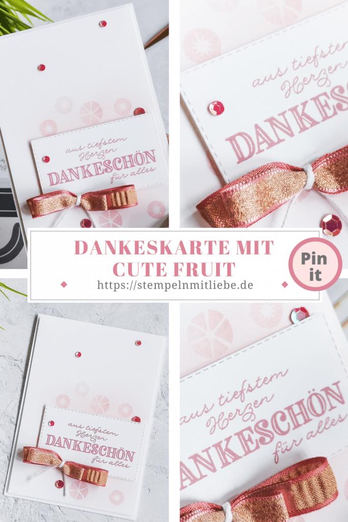Dankeskarte mit Cute Fruit - Stampin' Up! - Stempeln mit Liebe - Stempelset Cute Fruit - Stempelset Dekoratives Dankeschön - Rokoko-Rosa - Kirschblüte