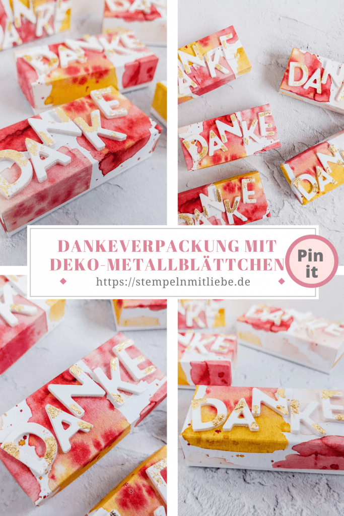Dankeverpackung mit Deko-Metallblättchen - Stampin' Up! - Stempeln mit Liebe - Deko-Metallblättchen in Gold - Designerpapier Eisdiele
