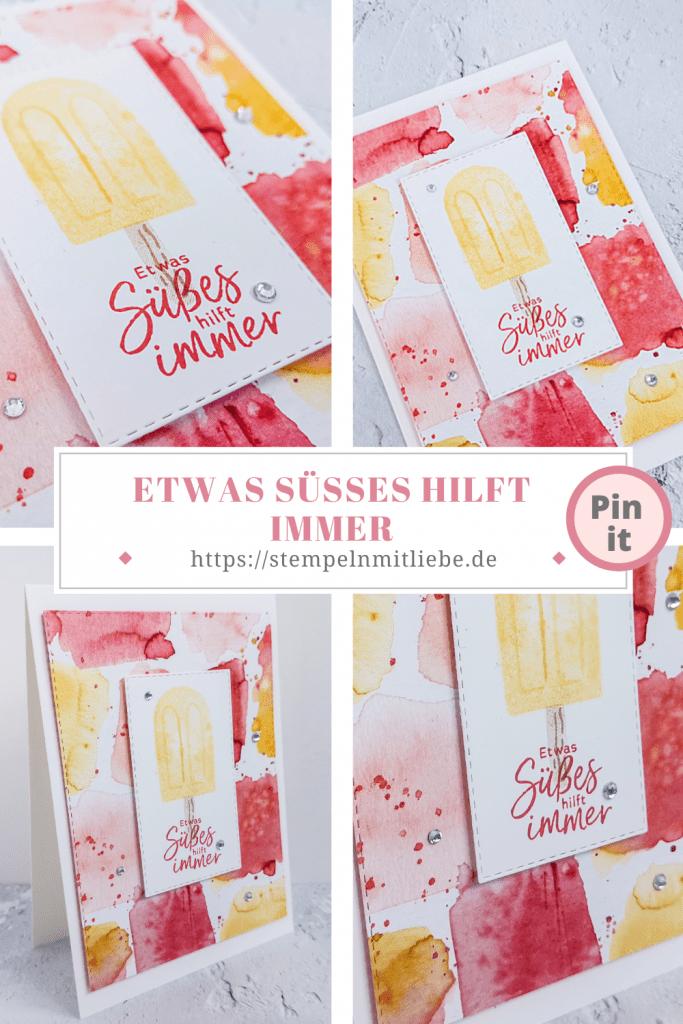 Etwas Süßes hilft immer - Stampin' Up! - Stempeln mit Liebe - Designerpapier Eiszeit - Stempelset Eiszeit - Calypso - Safrangelb