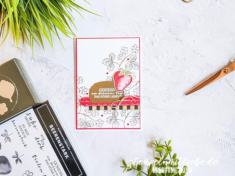 Geburtstagskarte mit Beerenstark - Stampin' Up - Produktpaket Beerenstark - Glutrot - Wildleder - Embossing