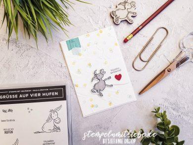 Geburtstagskarte mit Grüsse auf vier Hufen