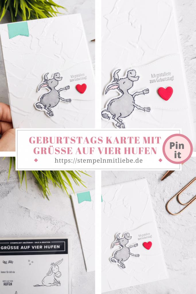 Geburtstagskarte mit Grüsse auf vier Hufen -Stempeln mit Liebe - Stampin' Up! - Sale-a-Bration - Prägeform Strukturputz