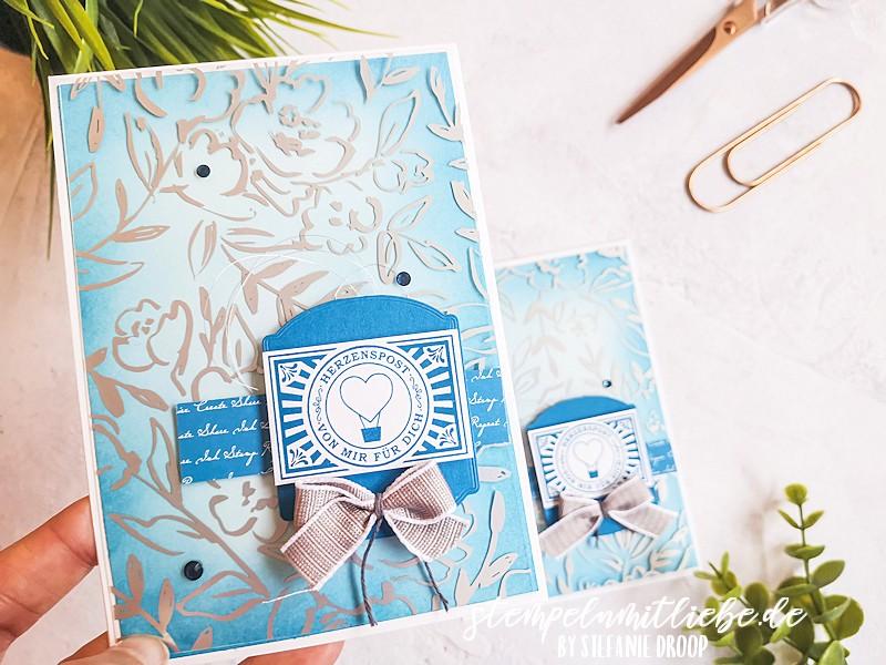Herzenspost mit Blending Pinsel - Stampin' Up - Stempeln mit Liebe - Stempelset Gestanzte Grüße - Video - Anleitung - Tutorial - Pazifikblau - Babyblau - Besonderes Designerazetat Gartengold