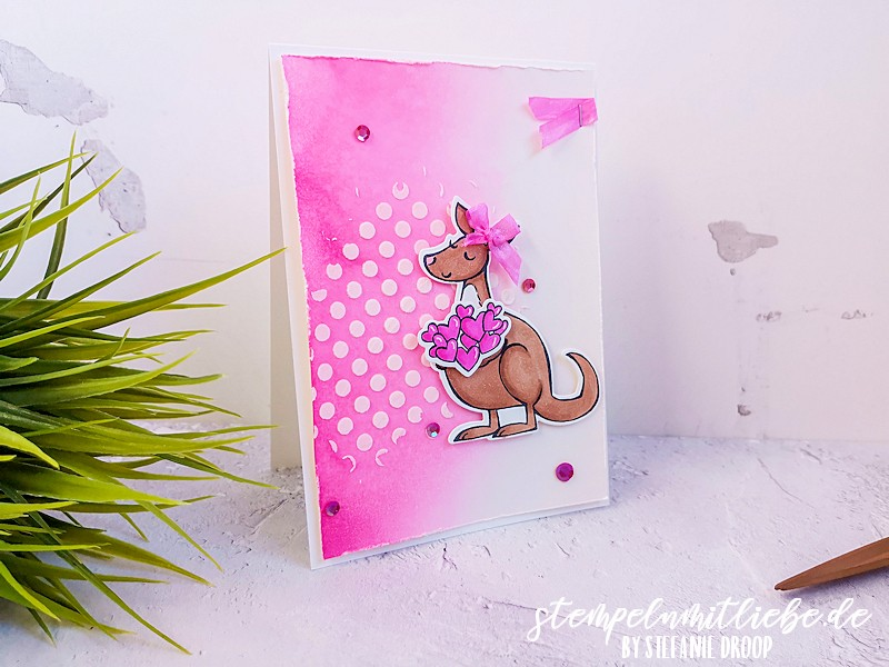 Känguru in Magentarot - Stempeln mit Liebe - Stampin' Up! - Produktpaket Kangaroo & Company - Blending Pinsel - Strukturpaste
