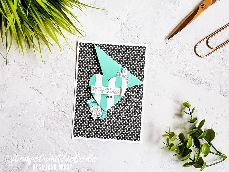 Karte Gutschein für Zeit zu zweit - Stempeln mit Liebe - Stampin' Up! - Stempelset In meinem Herzen - Designerpapier Wahre Liebe