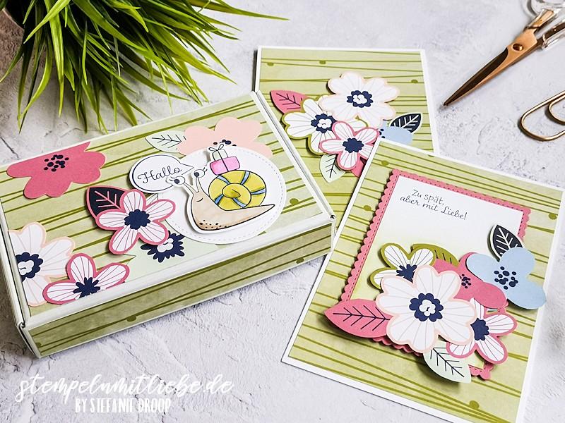 Projekte mit DSP Papierblüten - Sale-a-Bration - Saleabration - Stampin' Up! - Stempeln mit Liebe - Schneckenpost - Designerpapier Papierblüten - Mini Paper Pumpkin Schachtel
