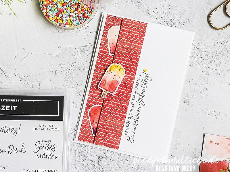 Süße Geburtstagsgrüße - Stempeln mit Liebe - Stampin' Up! - Designerpapier Eisdiele - Dekostreusel Eisdiele - Stempelset Eiszeit - Geburtstagskarte
