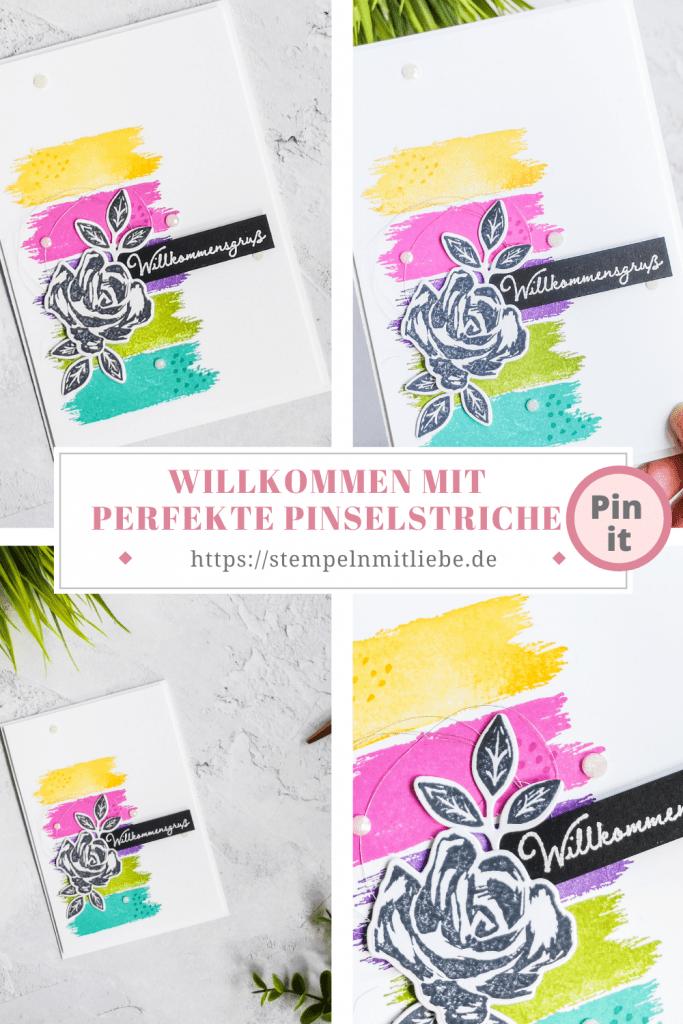 Willkommen mit perfekte Pinselstriche - Stampin' Up! - Stempeln mit Liebe - Hummelgelb - Magentarot - Amethyst - Grüner Apfel - Bermudablau - Embossing