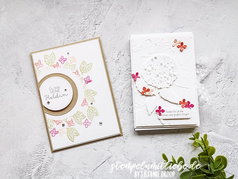 Workshop Projekte Herrliche Hortensie - Stampin' Up! - Stempeln mit Liebe - Hortensienpark - Wassermelone - Blütenrosa - Calypso - Farngrün - Verpackung - Grußkarte
