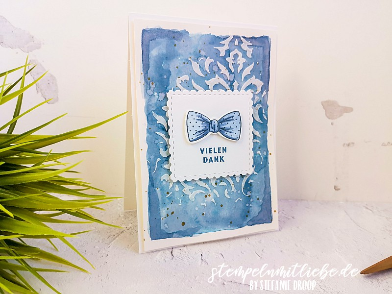 Dankeschön in Abendblau - Stampin' Up! - Stempeln mit Liebe - Struktur-Paste - Stempelset Wie Massgeschneidert - Dankeskarte
