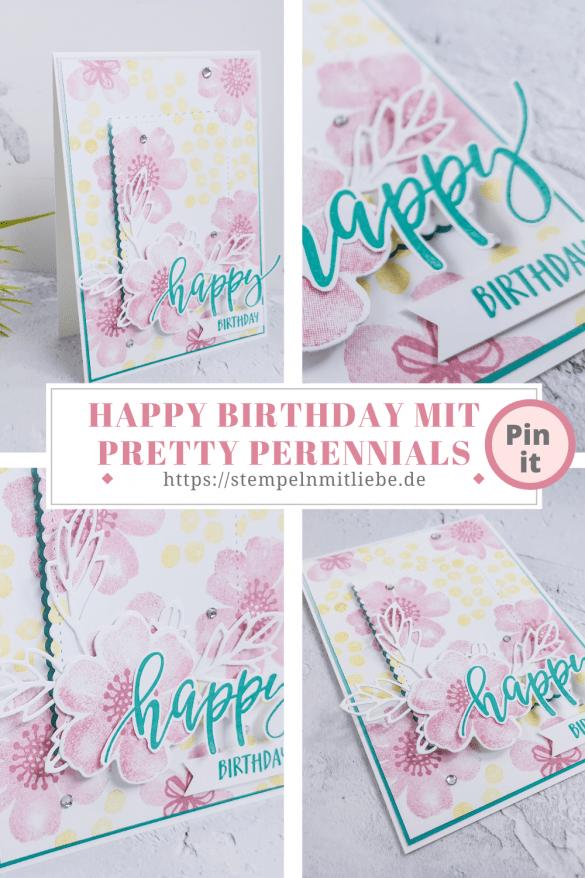 Happy Birthday mit Pretty Perennials - Stampin' Up! - Stempeln mit Liebe - Rokokorora - Bermudablau - Geburtstagskarte - Geburtstag