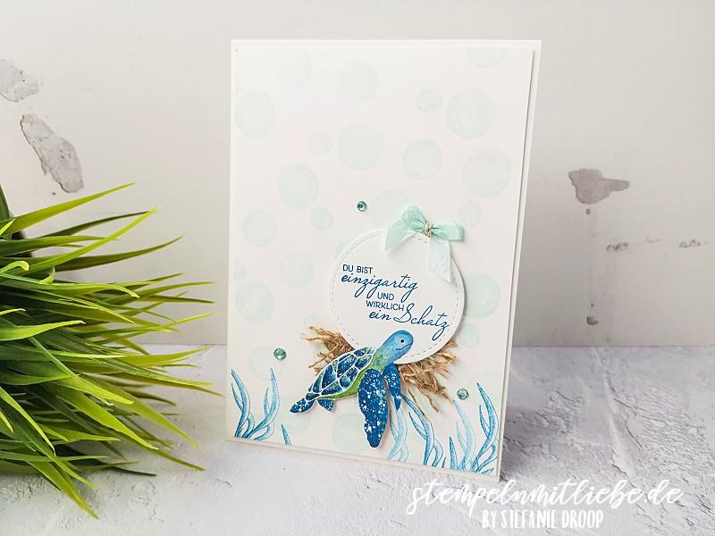 Unterwasserwelt mit Fruchtige Grüße - Stempeln mit Liebe - Stampin' Up! - Designerpapier Meereswelt - Stempelset Fruchtige Grüße - Stempelset Wie Muscheln