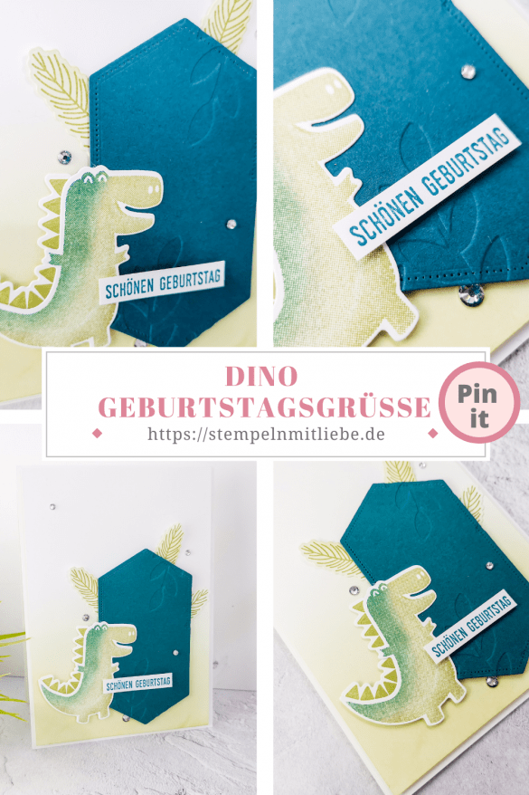 Dino Geburtstagsgrüße - Stempelset Dufte Dinos - Stanzformen Dinos - Pfauengrün - Farngrün - Geburtstagskarte