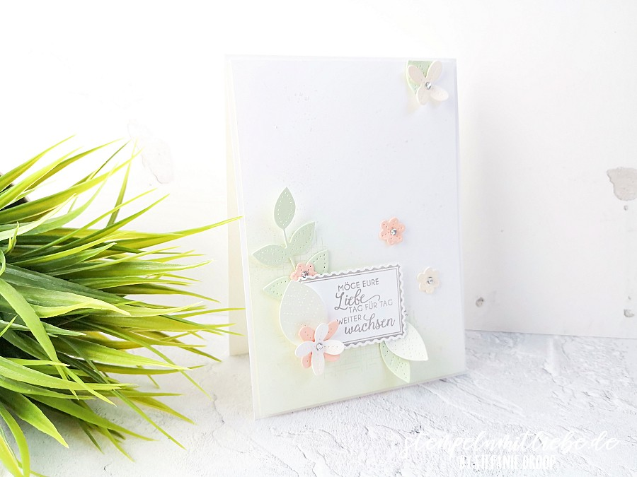 Hochzeitskarte mit Perforierte Blumen - Stempeln mit Liebe - Stampin' Up! - Lindgrün - Blütenrosa