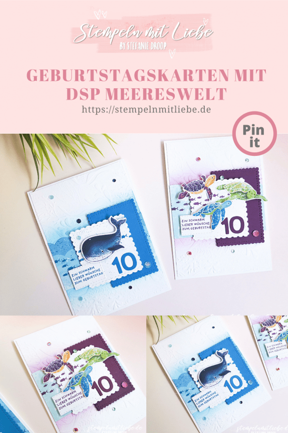 Geburstagskarten Kids mit DSP Meereswelt - Stampin' Up! - Stempeln mit Liebe - Brombeermousse - Pazifikblau