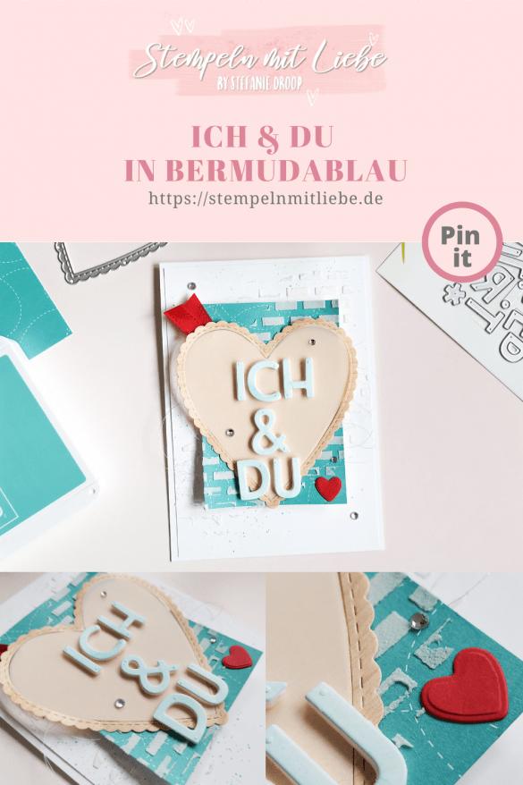 Stempeln mit Liebe - Stampin' Up! - Ich & Du in Bermudablau - Designerpapier Schneckenpost - Stanzformen Herzlich Bestickt