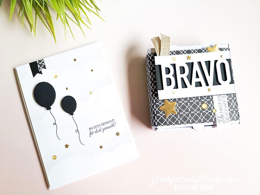 Video: Karte & Verpackung in Schwarzweiß - Stampin' Up! - Stempeln mit Liebe - Stanzformen Bravo - Stempelset Schachtelweise Liebe - Designerpapier Wahre Liebe