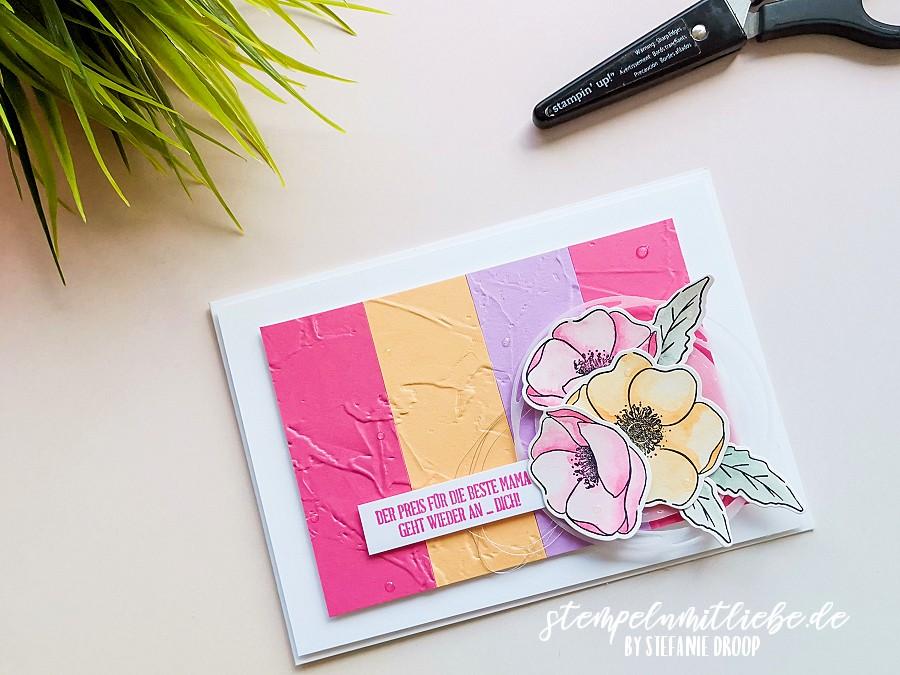 Muttertagskarte in den neuen In Color Farben - Stempeln mit Liebe - Stampin' Up! - Painted Poppies - Freesienlila - Bonbonrosa - Papaya