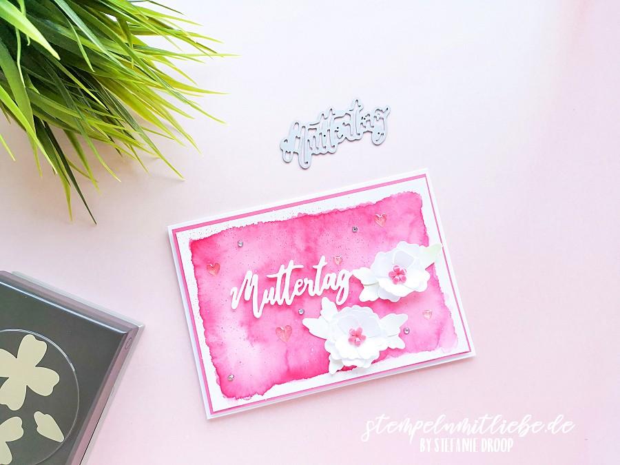 Video: Muttertagskarte mit Freundschaftsblüten: Stanze Blüten und Blätter - Stampin' Up! - Stempeln mit Liebe - Aquarellkarte