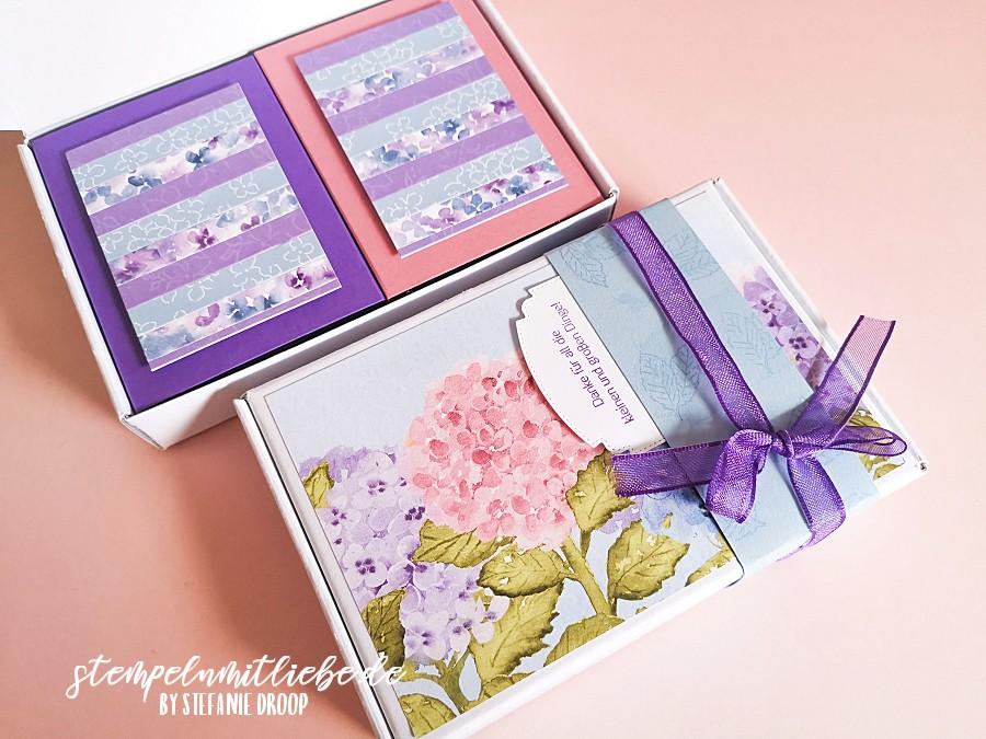 Paper Pumpkin Mini-Schachtel mit Designerpapier Hortensienpark - Stampin' Up! - Stempeln mit Liebe - Online Workshop April
