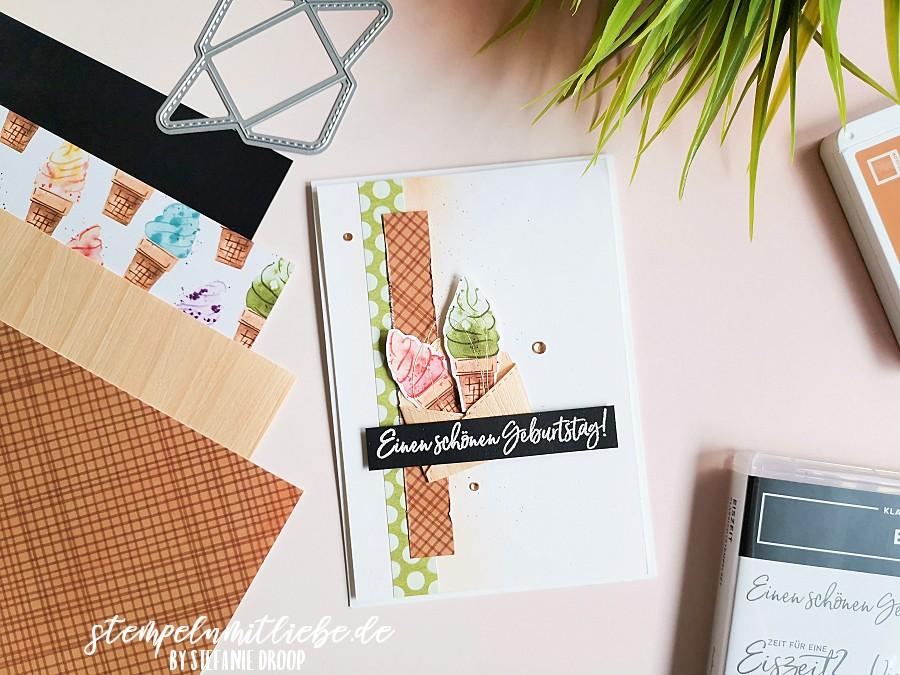 Schönen Geburtstag mit Eiszeit - Stempeln mit Liebe - Stampin' Up! - Designerpapier Eisdiele - Stempelset Eiszeit - Stanzformen Schnecke