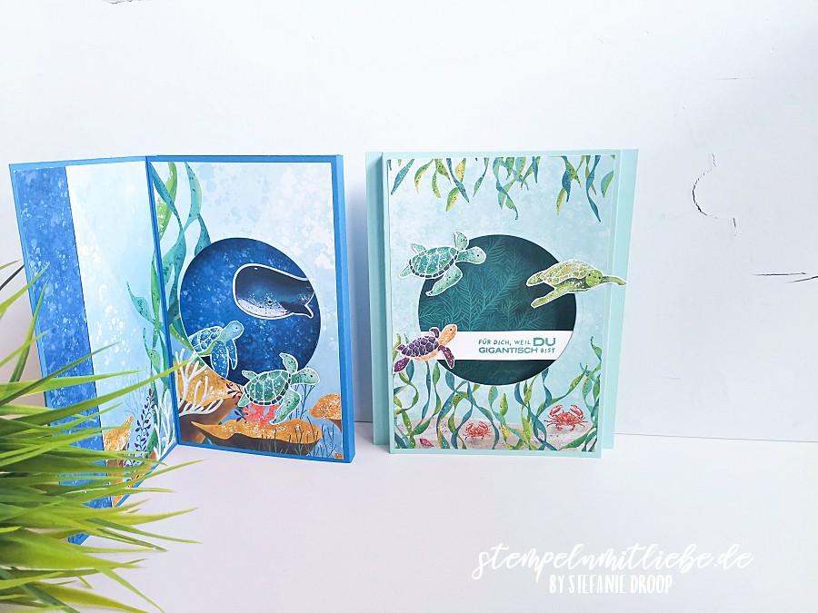 Shadowbox Karten mit Stempelset Fantastfisch und DSP Meereswelt - Stempeln mit Liebe - Stampin' Up! - Pazifikblau - Videotutorial