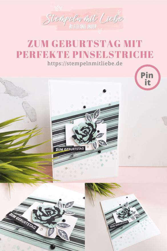 Zum Geburtstag mit Perfekte Pinselstriche - Stampin' Up! - Minzmakrone - Schwarz - Aquamarin