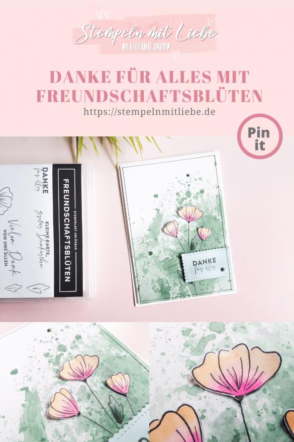 Aquarellkarte mit Freundschaftsblüten - Stampin' Up! - Stempeln mit Liebe