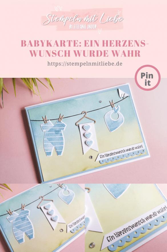 Babykarte: Ein Herzenswunsch wurde wahr - Stempeln mit Liebe - Stampin' Up! - Produktpaket All for Baby - Stempelset Grussfamilie - Babyblau - Farngrün