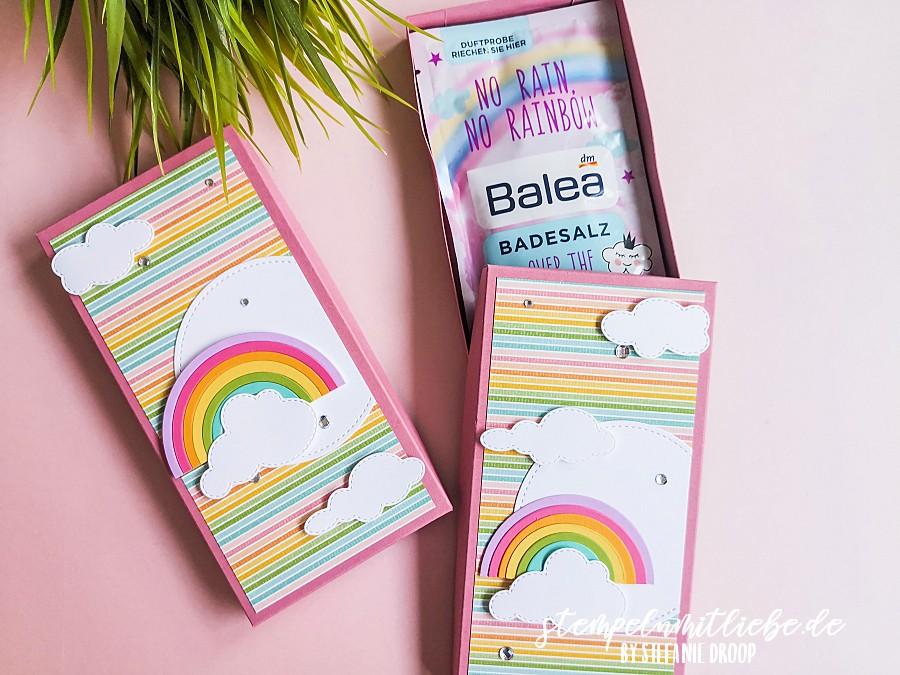 Badesalzverpackung Over the Rainbow - Stampin' Up! - Stempeln mit Liebe - Stanzformen Der richtige Dreh - Stanzformen Stickmuster - Stanzformen Lagenweise Kreise